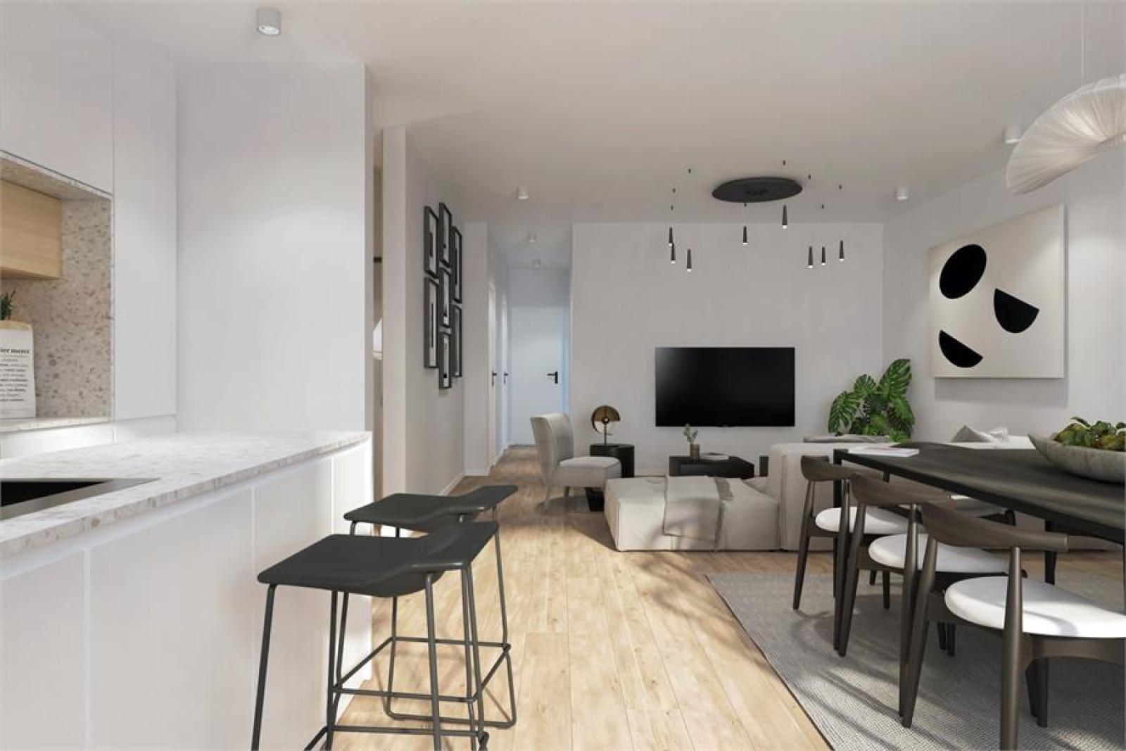 Licht en zeer ruim appartement (+/- 122,5 m²) met 3 slaapkamers en west-georiënteerde privatieve tuin met terras (95 m²)! afbeelding 2