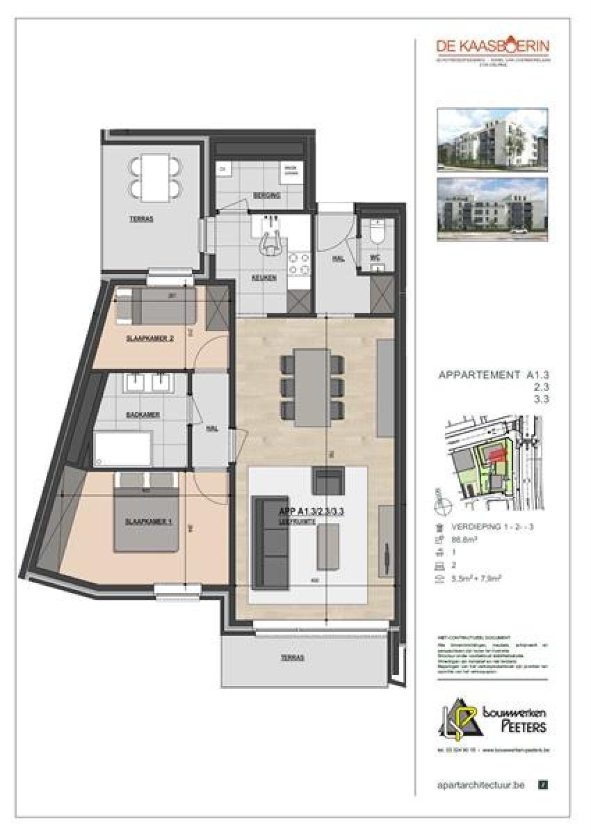Licht en ruim appartement (+/- 87 m²) met 2 slaapkamers en 2 terrassen! afbeelding 8
