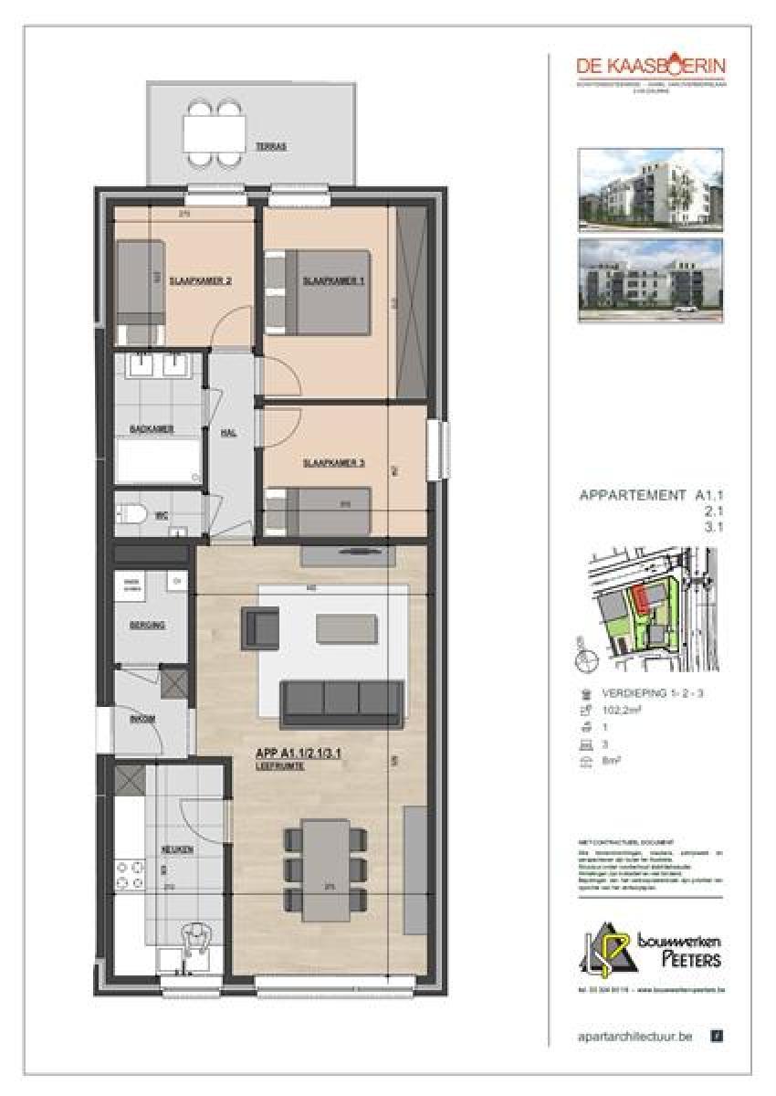 Licht en ruim appartement (+/- 102 m²) met 3 slaapkamers en terras! afbeelding 8