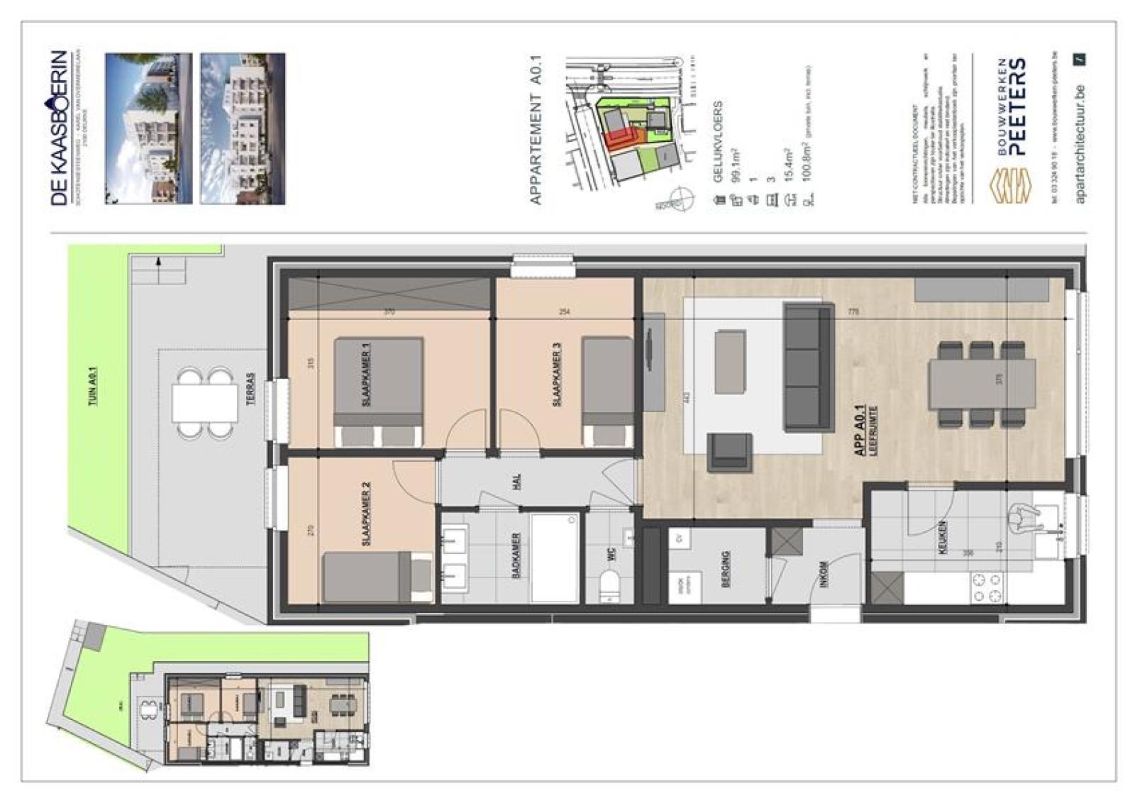Licht en functioneel appartement (+/-98,8m²) met 3 slaapkamers, terras en zuid-georiënteerde privatieve tuin (81m²)! afbeelding 7