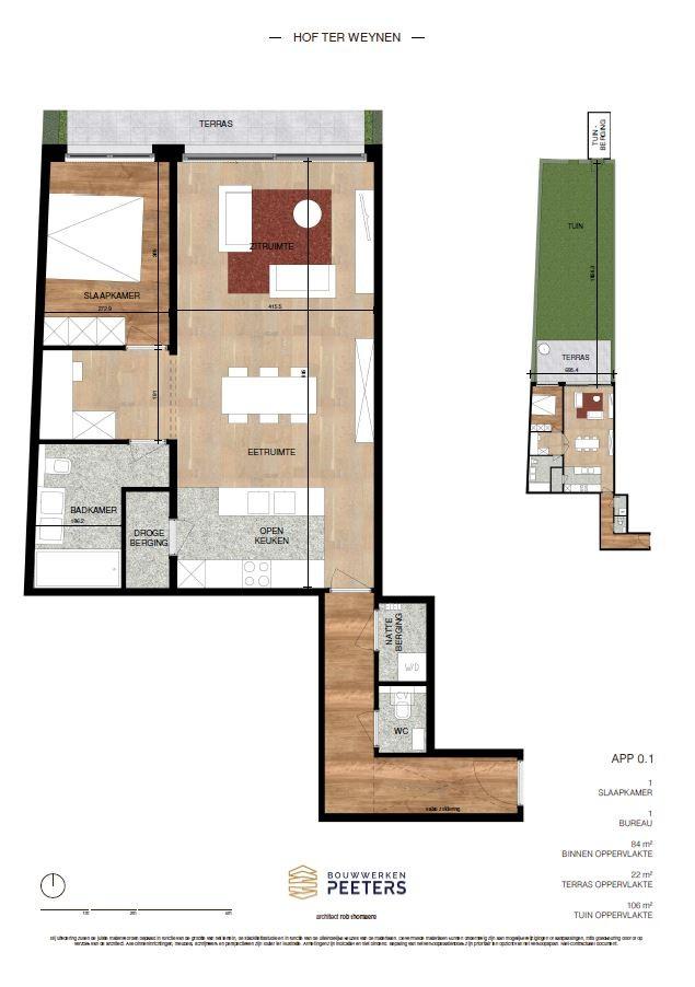 Zeer praktisch gelijkvloers 1 slaapkamerappartement (84 m²) met aangelegd terras (22 m²) en privatieve tuin (106 m²) welke grenst aan natuurgebied! afbeelding 5