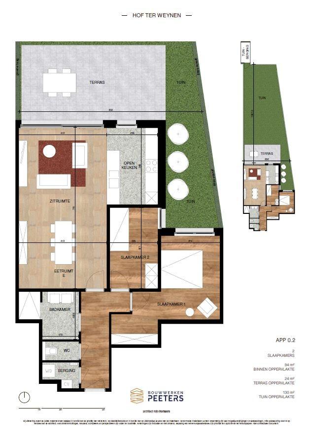 Prachtig gelijkvloers appartement met 2 slaapkamers (94 m²) met aangelegd terras (24 m²) en privatieve tuin (130 m²) welke grenst aan natuurgebied! afbeelding 4