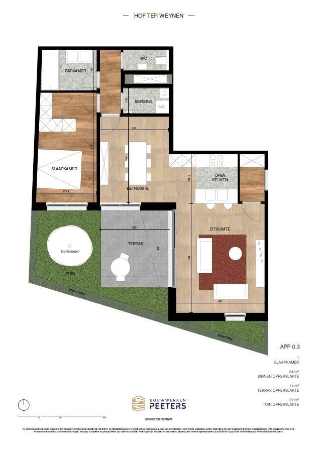 Zeer praktisch gelijkvloers 1 slaapkamerappartement (84 m²) met aangelegd terras (11 m²) en privatieve tuin (21 m²)! afbeelding 4