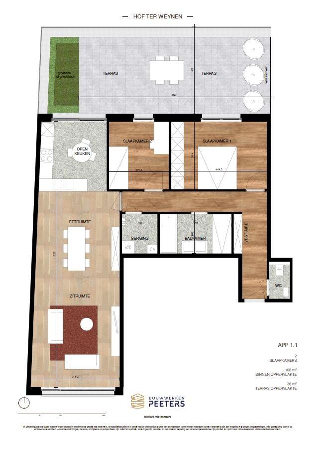 Prachtig appartement met 2 slaapkamers (106 m²) op de eerste verdieping met terras (36 m²) met zicht op het achterliggend natuurgebied! afbeelding 4