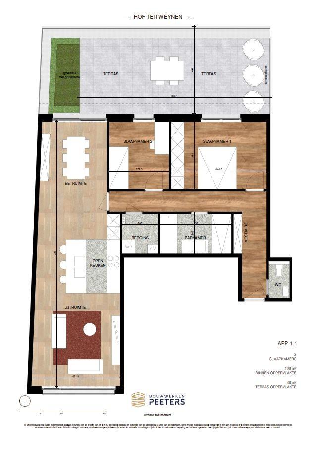 Prachtig appartement met 2 slaapkamers (106 m²) op de eerste verdieping met terras (36 m²) met zicht op het achterliggend natuurgebied! afbeelding 5