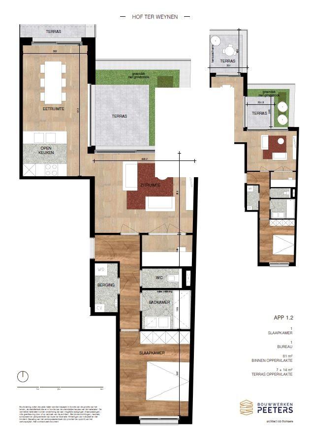 Zeer praktisch 1 slaapkamerappartement (81 m²) met private terrassen (7 m² + 14 m²) met zicht op het achterliggend natuurgebied! afbeelding 4