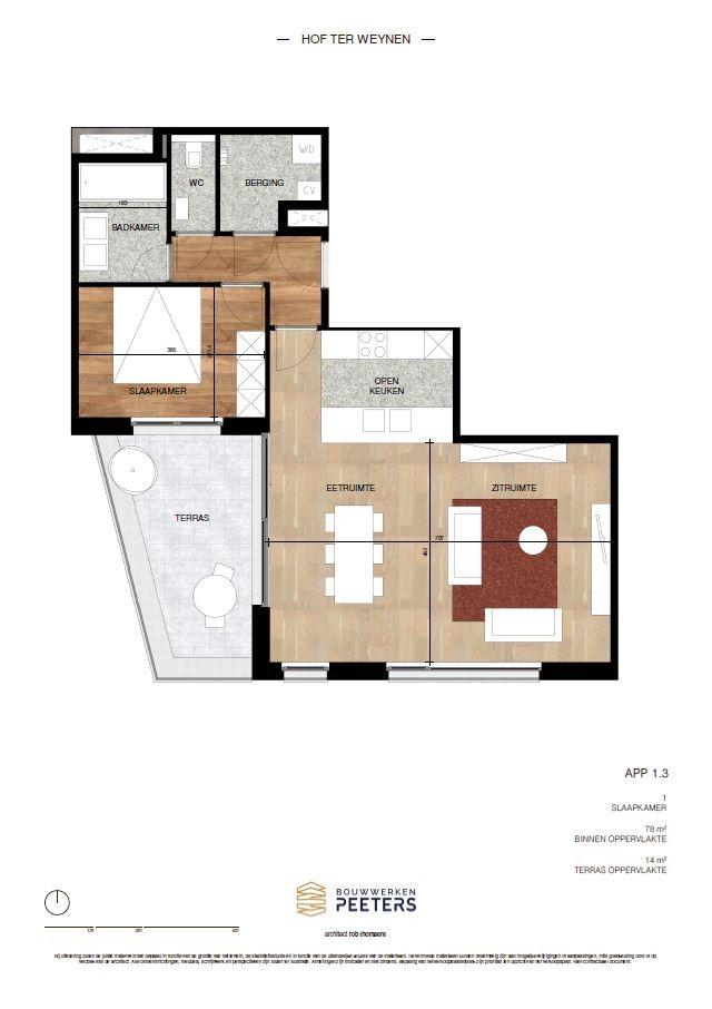 Zeer praktisch 1 slaapkamerappartement (78 m²) met privaat terras (14 m²)! afbeelding 4