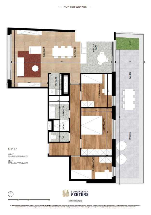 Prachtig appartement met 3 slaapkamers (111 m²) op de bovenste verdieping met terras (34 m²) met zicht op het achterliggend natuurgebied! afbeelding 4