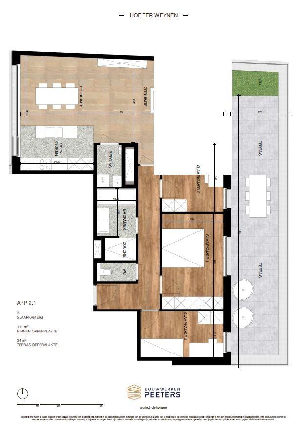 Prachtig appartement met 3 slaapkamers (111 m²) op de bovenste verdieping met terras (34 m²) met zicht op het achterliggend natuurgebied! afbeelding 5