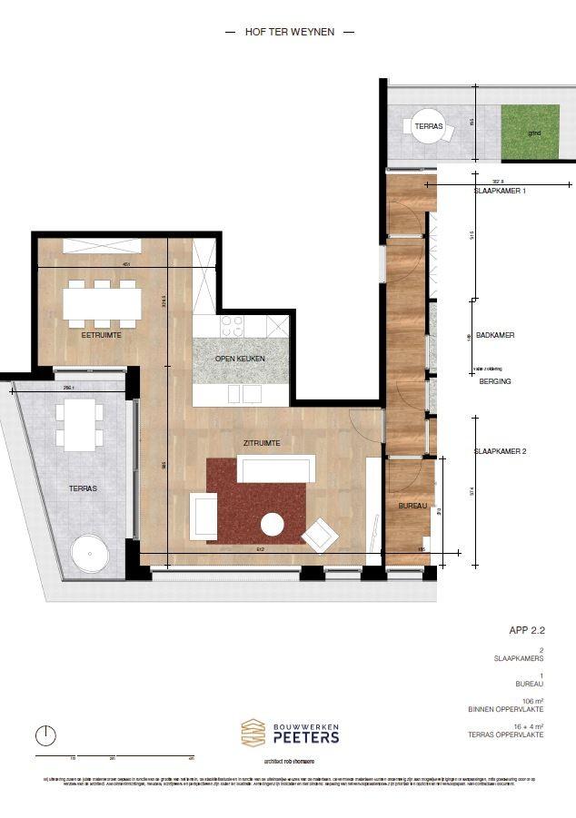 Prachtig appartement met 2 slaapkamers (106 m²) op de bovenste verdieping met 2 private terrassen (16 m² + 4 m²)! afbeelding 4