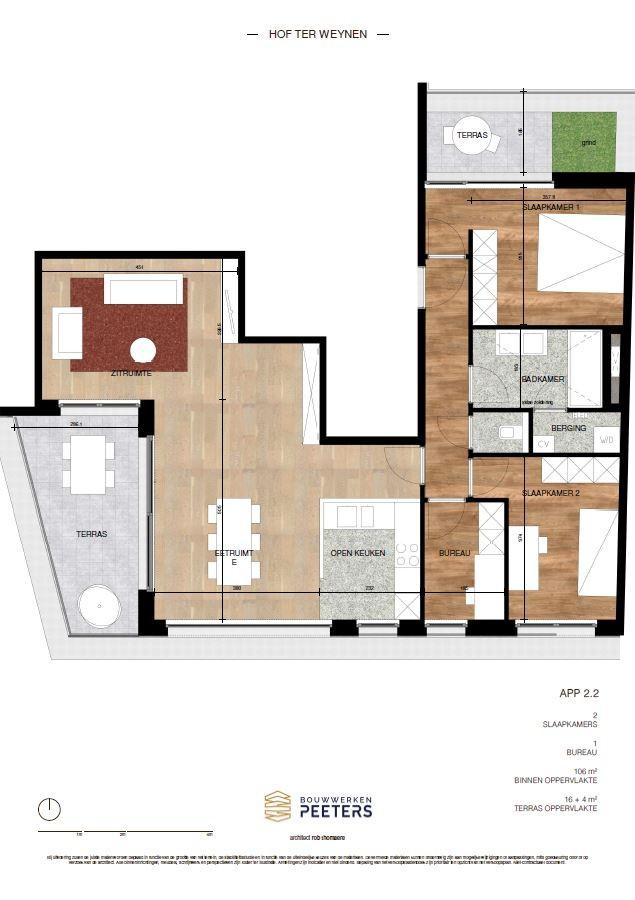 Prachtig appartement met 2 slaapkamers (106 m²) op de bovenste verdieping met 2 private terrassen (16 m² + 4 m²)! afbeelding 5