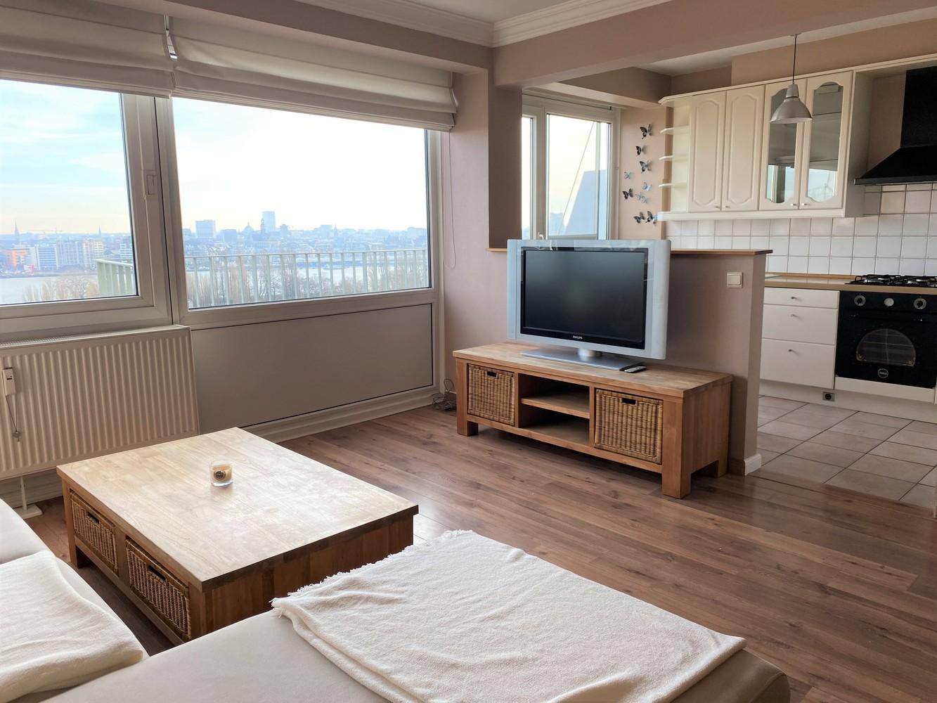 Lichtrijk, bemeubeld en ruim appartement met 2 slaapkamers & een uniek uitzicht over Antwerpen! afbeelding 1