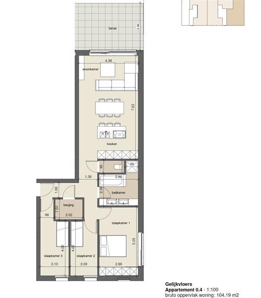 Licht en ruim gelijkvloers nieuwbouwappartement (+/-110 m²) met 3 slaapkamers, ruim zuid-gericht terras alsook parktuin. afbeelding 18