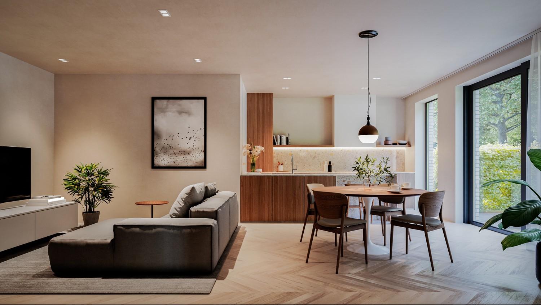 Licht en functioneel appartement (+/-106,76m²) met 2 slaapkamers, terras en zuid georiënteerd privatieve tuin (+/-73,85m²)! afbeelding 1