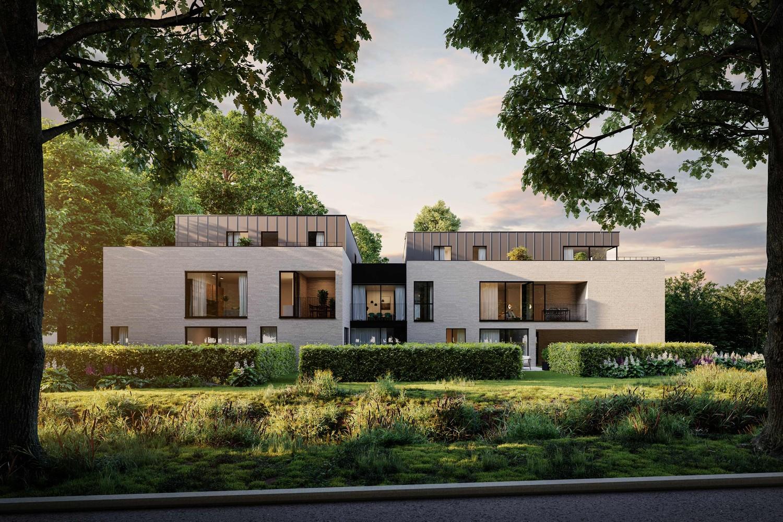Licht en functioneel appartement (+/-137,93m²) met 2 slaapkamers, terras en zuid en noord-georiënteerd privatieve tuin (+/-180,74m²)! afbeelding 2