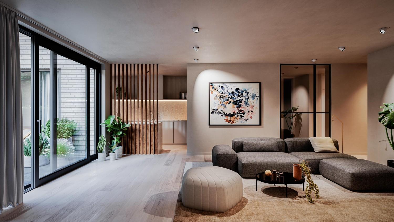 Licht en functioneel appartement (+/-103,55,00m²) met 1 slaapkamer, terras en zuid-georiënteerd privatieve tuin (+/-98,12m²)! afbeelding 1