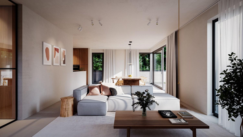 Licht en functioneel appartement (+/-103,55,00m²) met 1 slaapkamer, terras en zuid-georiënteerd privatieve tuin (+/-98,12m²)! afbeelding 6