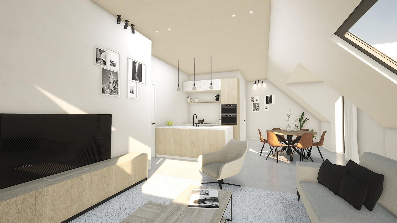 Licht en functioneel appartement (+/-96,80m²) met 2 slaapkamers en een zuidgeoriënteerd terras (+/-32,7m²)! afbeelding 1